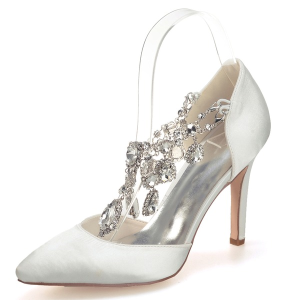 Vrouwen Satijn Stiletto Heel Closed Toe Pumps met Strass Kristal