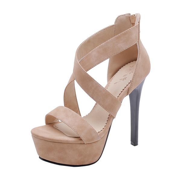 Kadın Süet İnce Topuk Sandalet Platform ayakkabı
