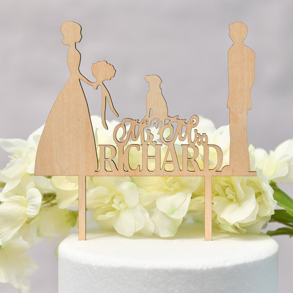 Personalized Classic Couple/Mr. & Mrs. Wood Cake Topper (Sold in a single piece)