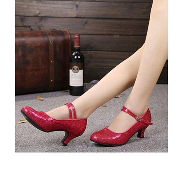 Vrouwen Sprankelende Glitter Hakken Pumps Character Shoes met Enkelriempje Dansschoenen