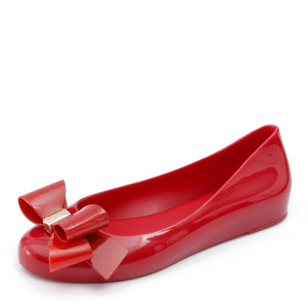 Femmes PVC Chaussures plates Bout fermé avec Bowknot chaussures