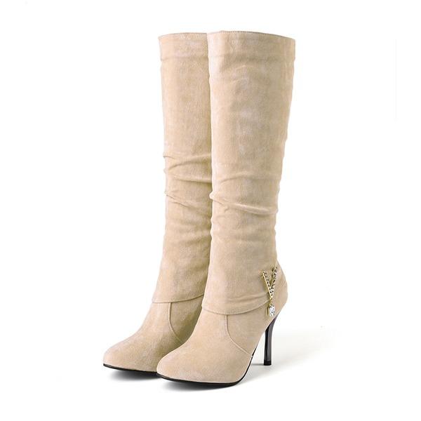 Kadın Süet İnce Topuk Bot Mid-Buzağı Boots Ile Toka ayakkabı