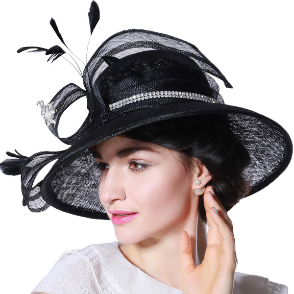 Ladies' Glamourous/Elegant/Eye-catching Cambric With Feather/Rhinestone Kentucky Derby Hats/Tea Party Hats