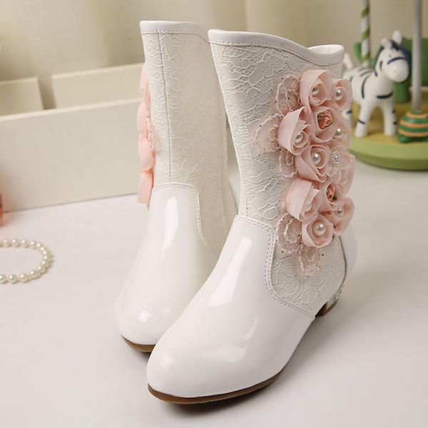 Jentas Leather flat Heel Lukket Tå Støvler med Profilering Blomst Applikert
