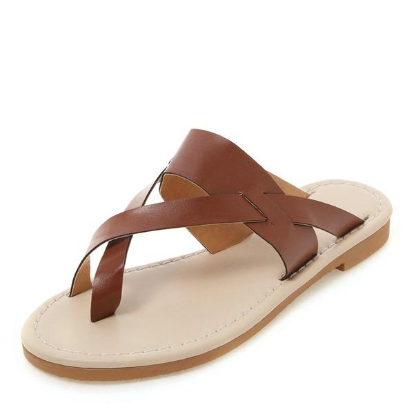 Mulheres Couro Sem salto Sandálias Sem salto Peep toe Sapatos abertos Chinelos sapatos