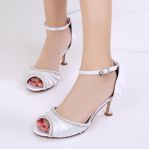 Frauen Seide wie Satin Stöckel Absatz Peep Toe Absatzschuhe Sandalen mit Schnalle Strass Rüschen Kette