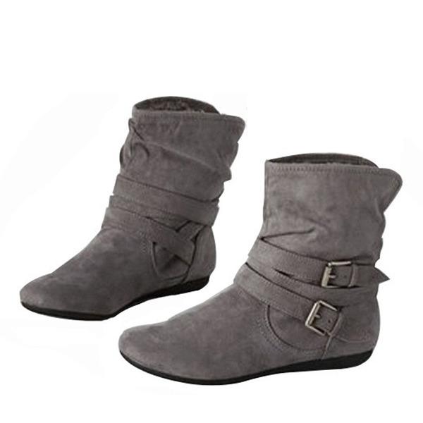 Kvinder Kunstlæder Flad Hæl Fladsko Støvler Ankelstøvler med Spænde sko