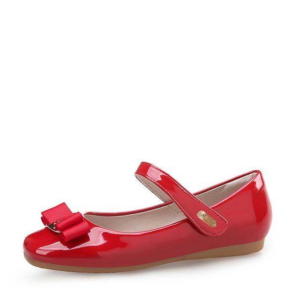 Jentas Lukket Tå Patent lær flat Heel Flate sko Flower Girl Shoes med Bowknot Velcro