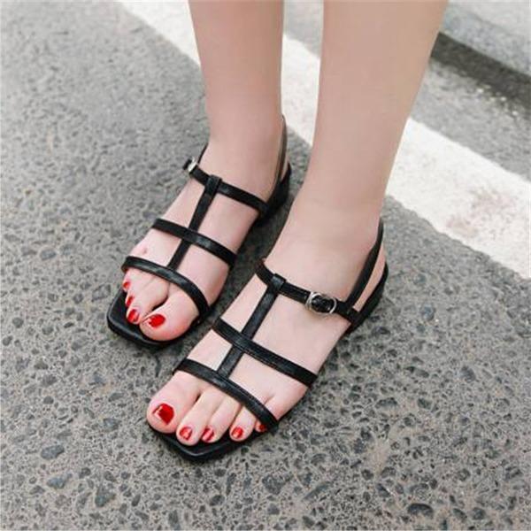 Женщины кожа Устойчивый каблук Сандалии с пряжка обувь