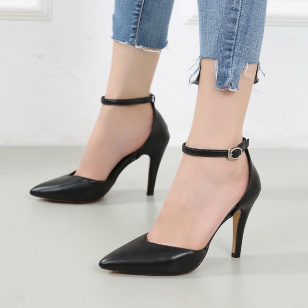 Mulheres Couro Brilhante Salto agulha Sandálias Fechados com Strass Fivela sapatos