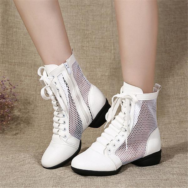Donna Similpelle Mesh Stivali Sneakers stile moderno Jazz Scarpe da Ginnastica Stivaletti Scarpe da ballo