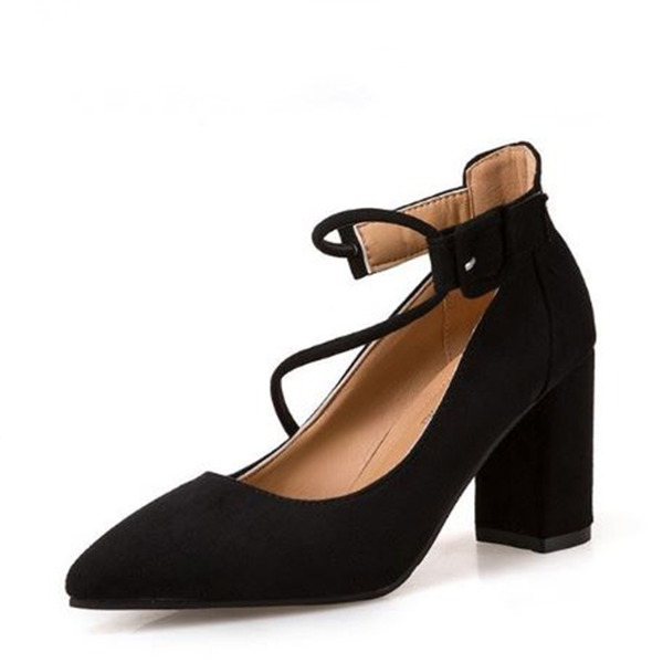 Frauen Veloursleder Stämmiger Absatz Absatzschuhe Geschlossene Zehe mit Schnalle Zuschnüren Schuhe