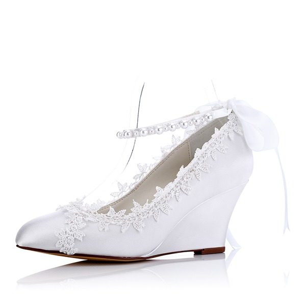 Women's Silk Like Satin Wedge Heel Wedges With Imitation Pearl Lace-up Applique
