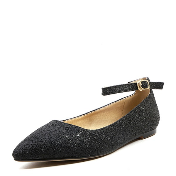 Women's PVC Flat Heel Flats Closed Toe With Buckle Lace-up shoes