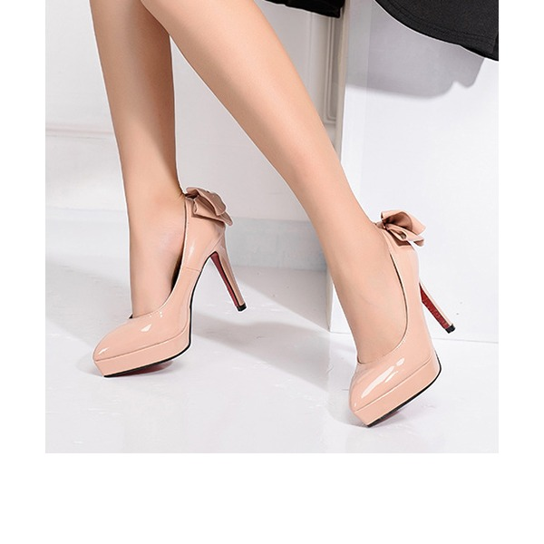 Women's Patent Leather Kitten Heel Pumps Platform Closed Toe With Bowknot shoes