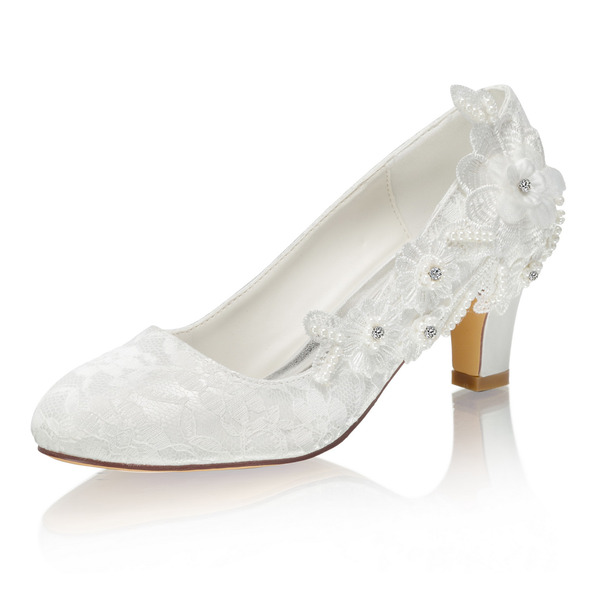 Women's Lace Silk Like Satin Stiletto Heel Closed Toe Pumps With Stitching Lace Crystal Pearl