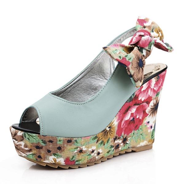 Kvinder Kunstlæder Kile Hæl sandaler Pumps Platform Kiler med Bowknot sko