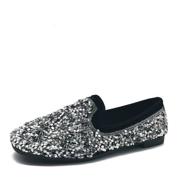 Женщины Мерцающая отделка На плокой подошве Закрытый мыс обувь