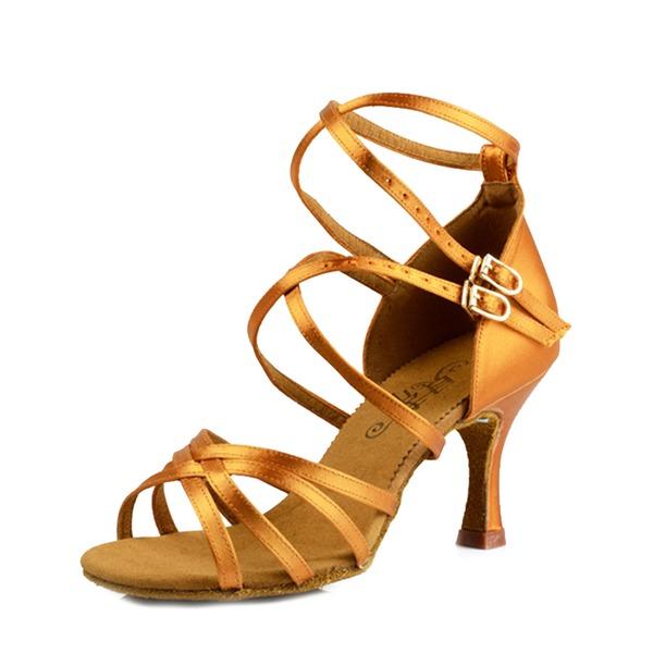 De mujer Satén Seda Tacones Sandalias Danza latina Zapatos de danza