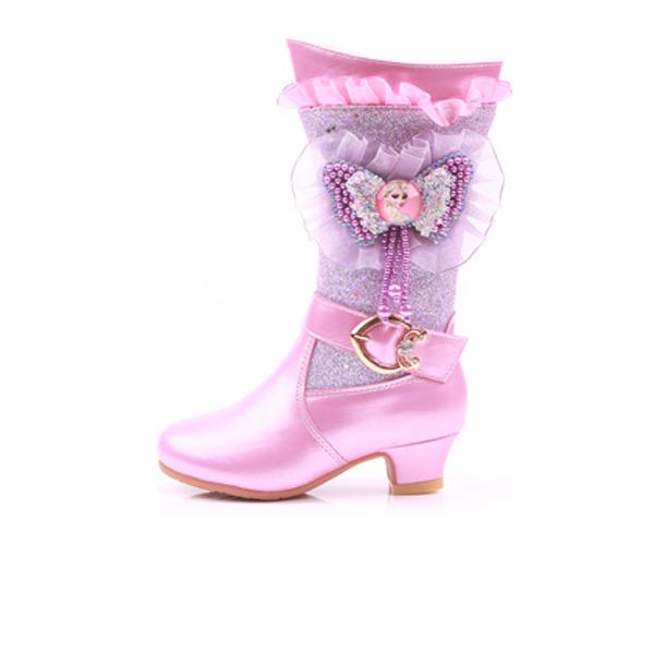 Jentas Mid Leggen Støvler Leather Flower Girl Shoes med Blomst Crystal