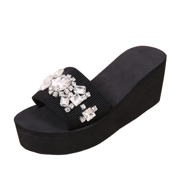 Kadın kumaş Dolgu Topuk Sandalet Terlik Ile Yapay elmas ayakkabı