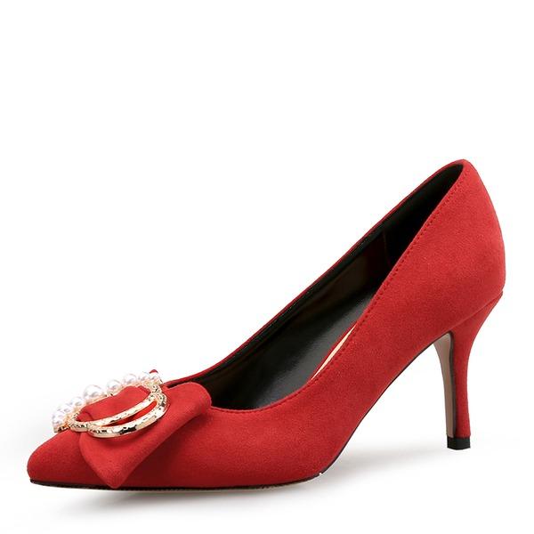 Kvinder Ruskind Stiletto Hæl Pumps Lukket Tå med Imiteret Pearl sko