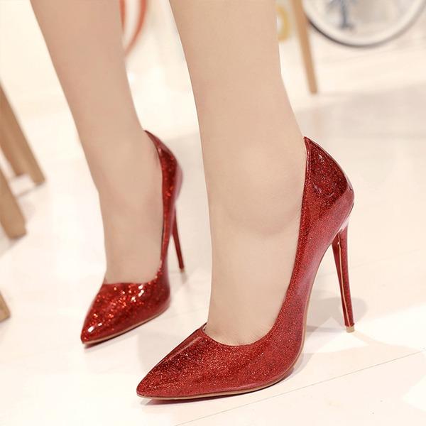 Mulheres Couro Brilhante Salto agulha Bombas com Fivela sapatos