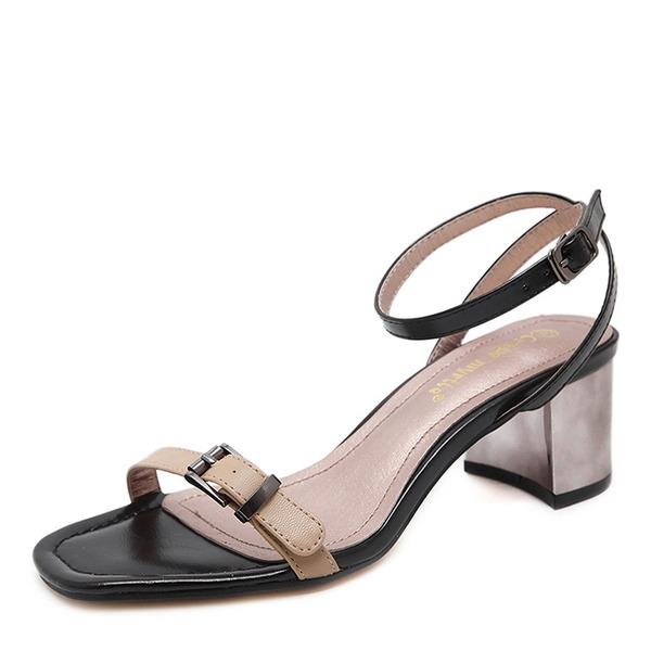 Mulheres Couro Salto agulha Sandálias Bombas Peep toe com Fivela sapatos