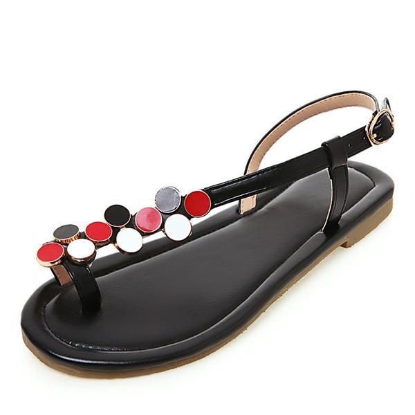 Femmes Similicuir Talon plat Sandales Chaussures plates À bout ouvert Escarpins avec Strass Boucle chaussures