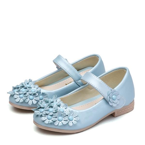 девичий Закрытый мыс дерматин Плоский каблук На плокой подошве Обувь для девочек с На липучке Цветок
