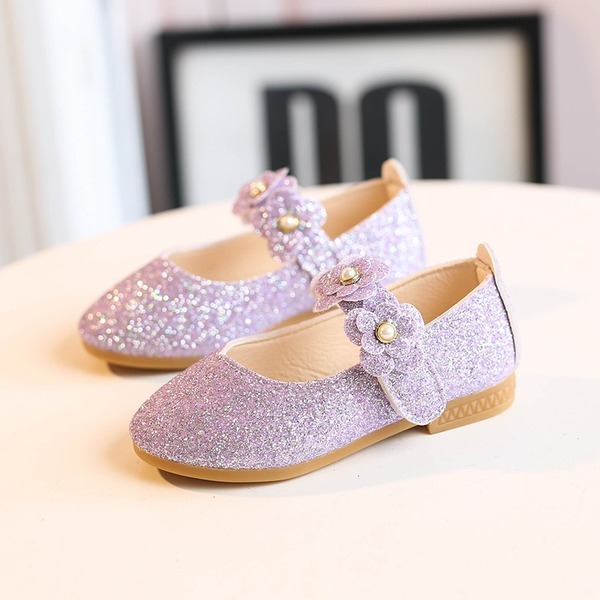 Fille de bout rond Bout fermé Glitter mousseux talon plat Chaussures plates Chaussures de fille de fleur avec Velcro Une fleur