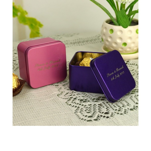 Personalized Cuboid Metal Favor Tin (Set of 12)