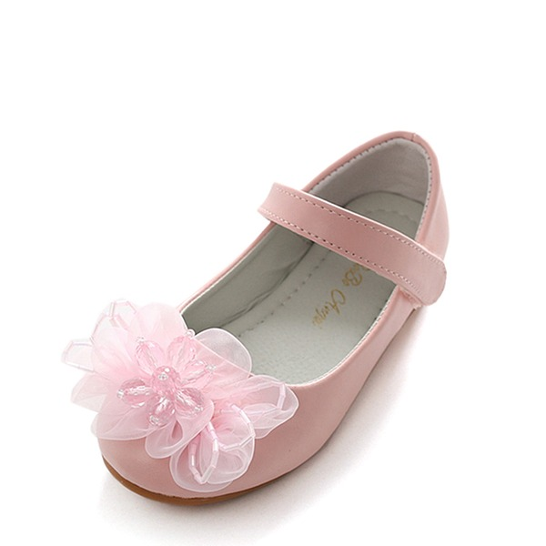 Mädchens Round Toe Geschlossene Zehe Mary Jane Leder Flache Ferse Flache Schuhe Blumenmädchen Schuhe mit Satin Schleife Klettverschluss Kristall