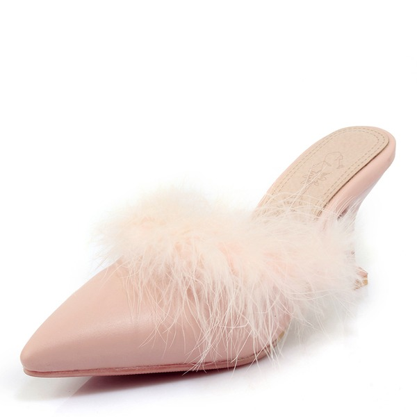 Women's PU Stiletto Heel Sandals Pumps With Fur shoes