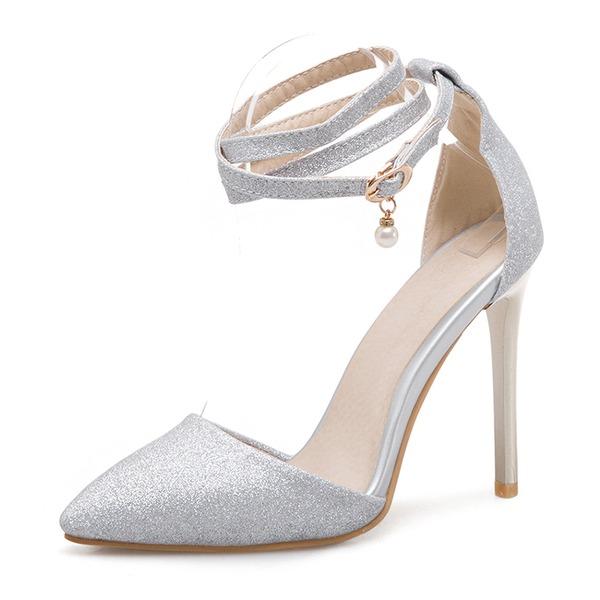 Donna Glitter scintillanti Tacco a spillo Sandalo Stiletto Punta chiusa con Perla imitazione Fibbia scarpe