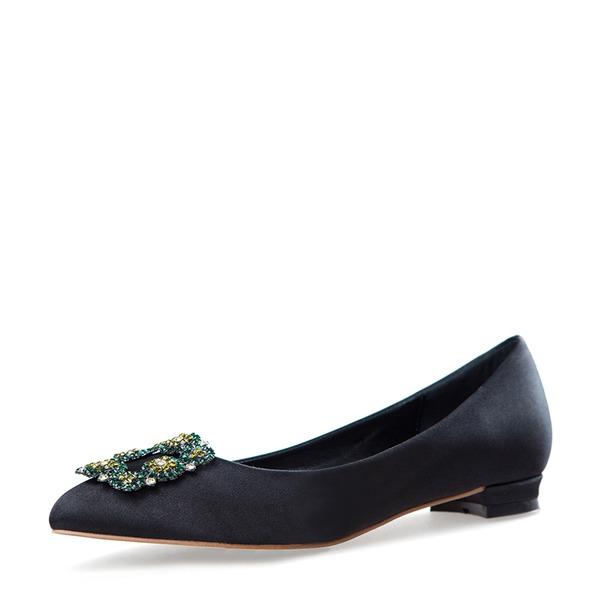 Kvinnor Satäng Flat Heel Platta Skor / Fritidsskor Stängt Toe med Spänne skor