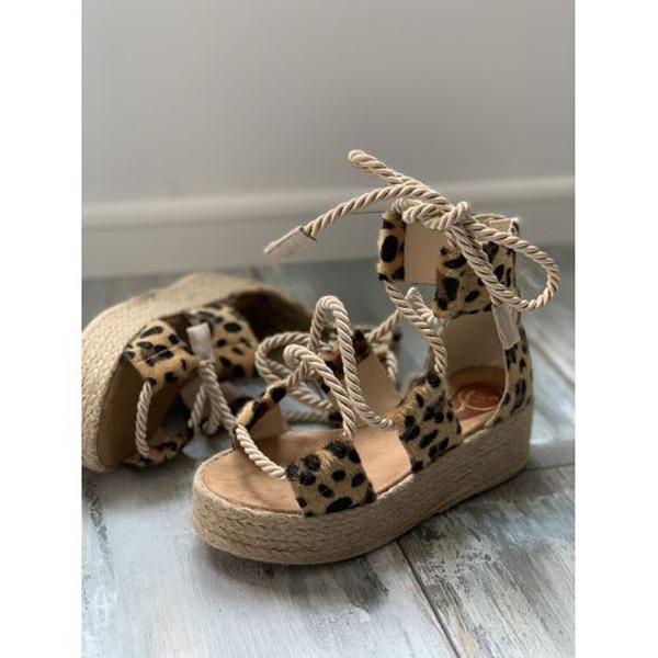 Kvinder Kunstlæder Kile Hæl sandaler Kigge Tå med Blondér sko