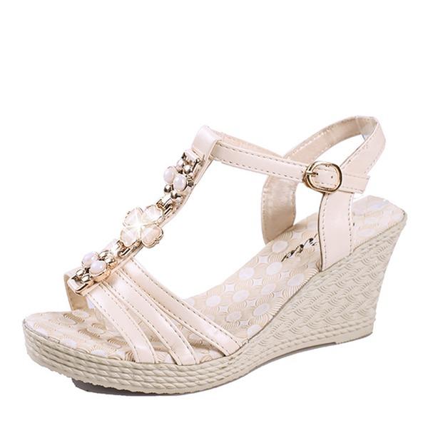 De mujer Cuero Tipo de tacón Sandalias Cuñas Encaje Solo correa con Rhinestone Hebilla zapatos