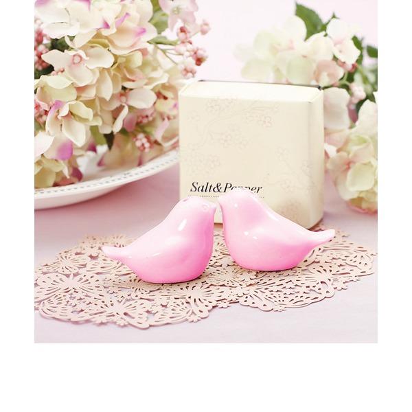 """""""Kärlek fågel"""" älskvärda fåglar Keramik Salt & Pepparkar med Färgband (Set av 2)"""