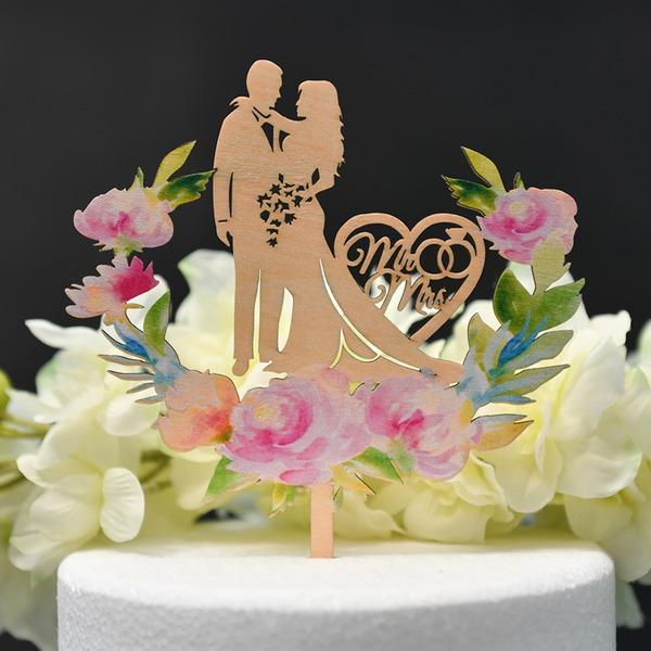 Couple classique/Jeune mariée et Marié/Amour doux Bois Décoration pour gâteaux (Vendu dans une seule pièce)