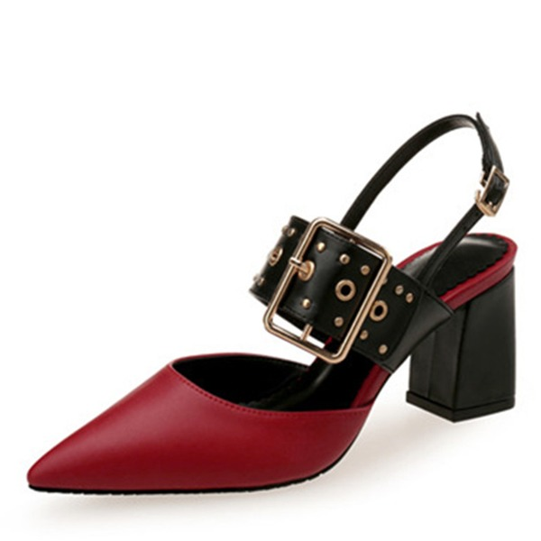 Women's Leatherette Chunky Heel Sandals Flats Closed Toe With Buckle Hollow-out shoes
