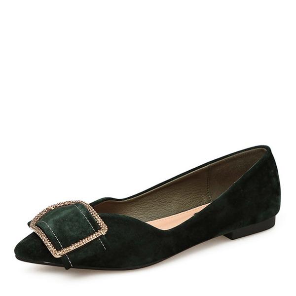 De mujer Ante Planos Cerrados con Rhinestone zapatos