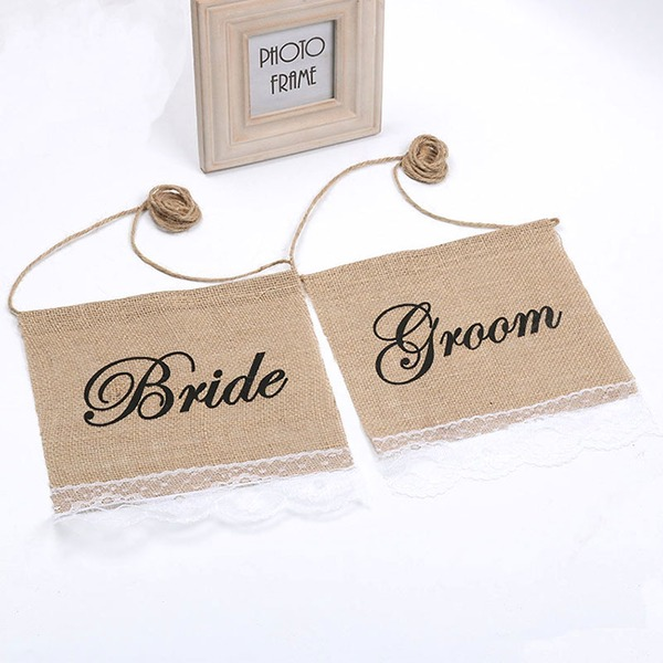 Bride and Groom Lace/Linen Runner (set of 2)