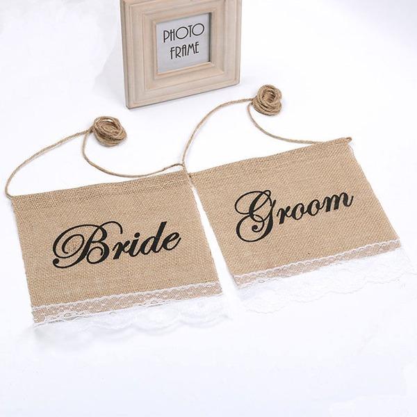 Da noiva e do noivo Renda/Linho (conjunto de 2)