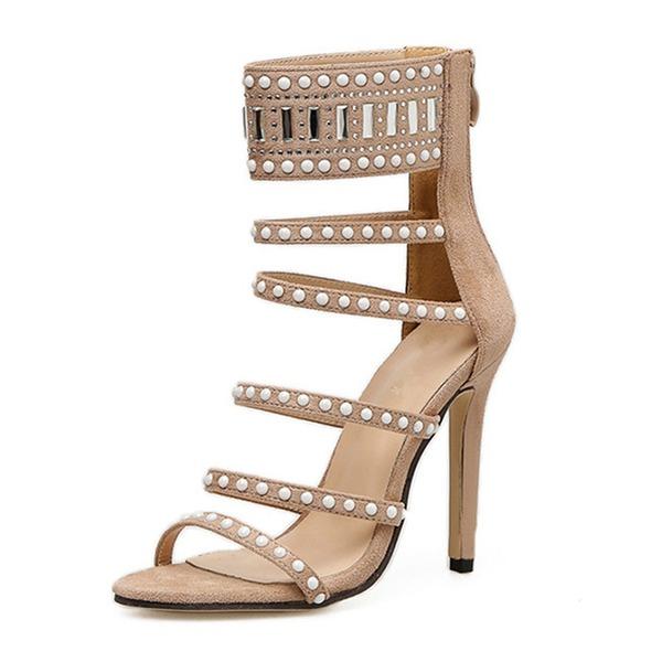 Mulheres Camurça Salto agulha Sandálias Bombas com Pérola Imitação Zíper sapatos