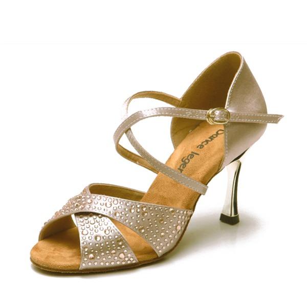 Femmes Satiné Talons Sandales Latin avec Strass Chaussures de danse