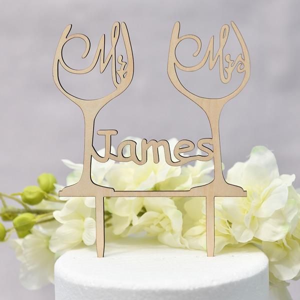 personnalisé Mr & Mrs/l'amour est doux Bois Décoration pour gâteaux (Vendu dans une seule pièce)