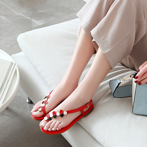 Women's Leatherette Flat Heel Sandals Flats Peep Toe Slingbacks With Rhinestone Buckle shoes