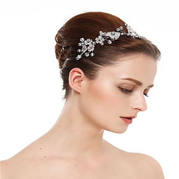 Ladies Classic Crystal/Frosted flower/Pearls Headbands (Sold in single piece)