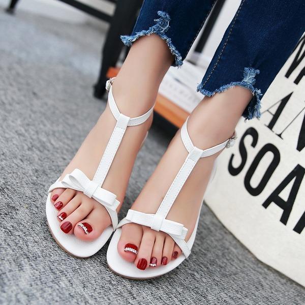 Frauen Kunstleder Flascher Absatz Sandalen Flache Schuhe Peep Toe Slingpumps mit Bowknot Schuhe